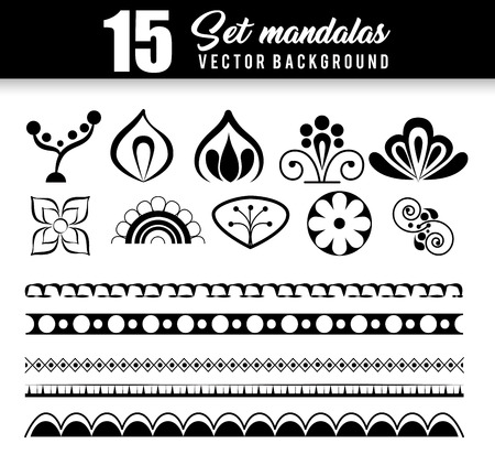 15 mandalas monochrome boho style set vector illustration design. Stock Illustratie