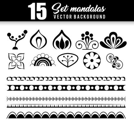 15 mandalas monochrome boho style set vector illustration design. Vectores