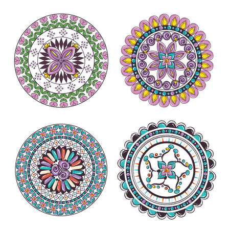 Mandalas colors boho style set vector illustration design.