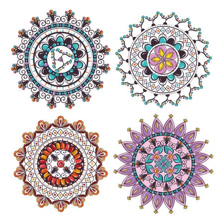 Mandalas colors boho style set vector illustration design.