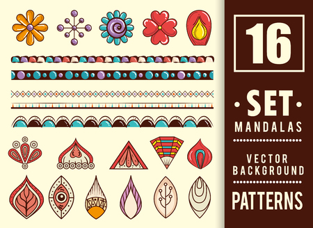 16 mandalas colors boho style set vector illustration design. Stock Illustratie