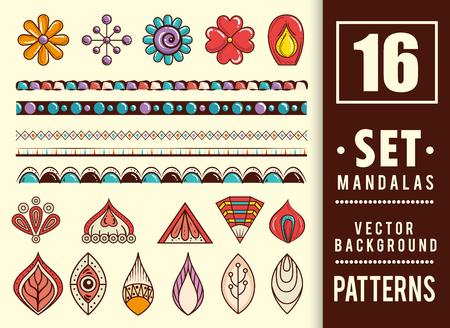 16 mandalas colors boho style set vector illustration design. Ilustracja