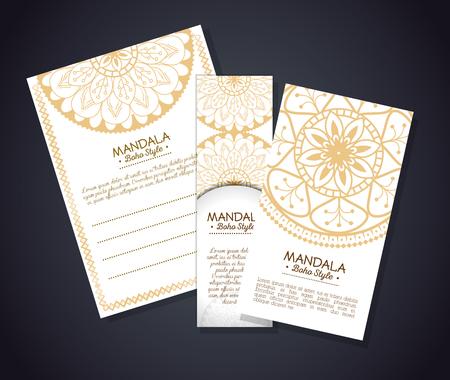 Golden mandala boho style flyers vector illustration design. Illustration