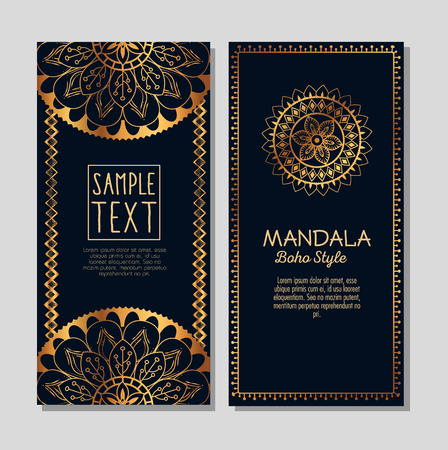 Golden mandala boho style flyers vector illustration design