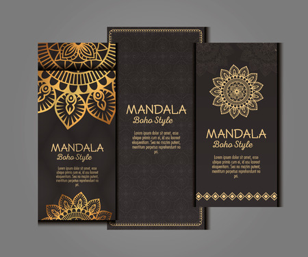 Golden mandala boho style flyers vector illustration design Фото со стока - 95843008