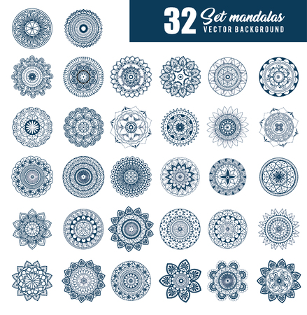 32 mandalas monochrome boho style set vector illustration design.