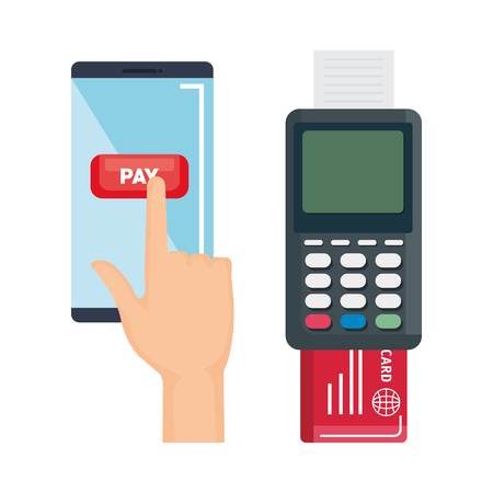 near field communication technology vector illustration design with credit card reader and mobile phone.