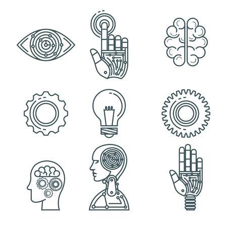 kunstmatige intelligentie technologie set iconen vector illustratie ontwerp