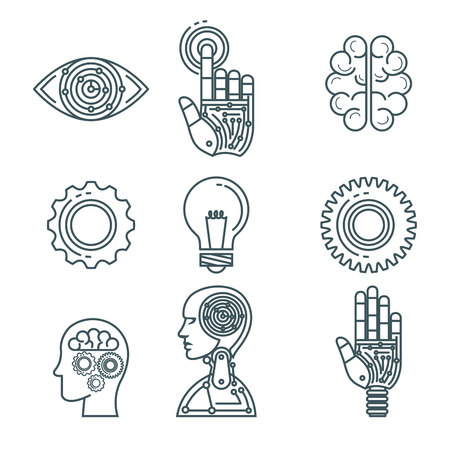 artificial intelligence technology set icons vector illustration design