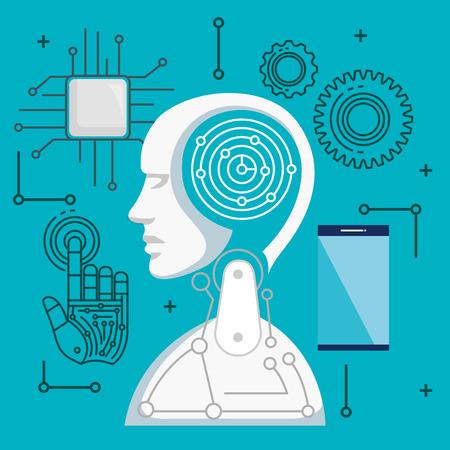 artificial intelligence technology set icons vector illustration design