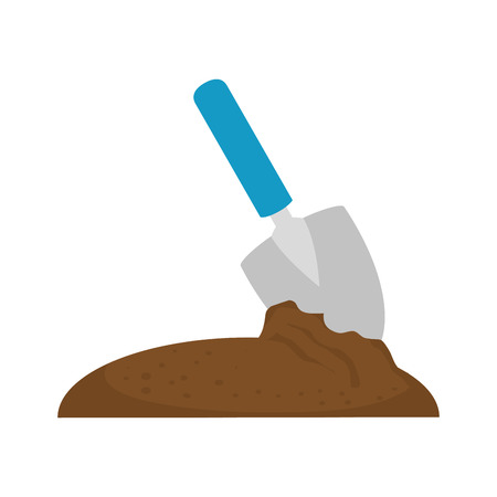 gardening shovel with ground vector illustration design