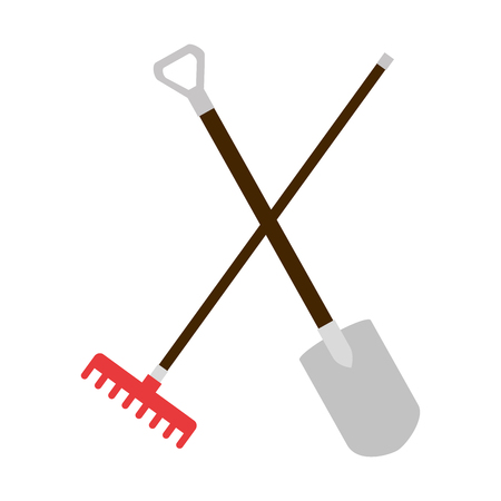 gardening shovel and rake isolated icon vector illustration design