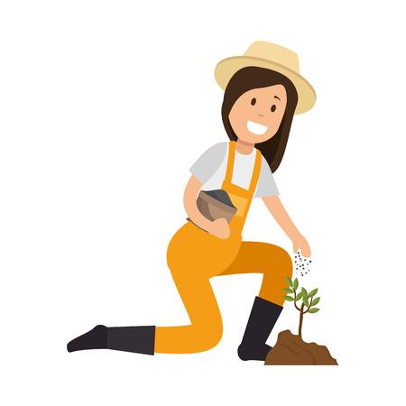 Jardinier femme plantant avatar caractère vector illustration design Vecteurs