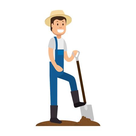 Male gardener with shovel avatar character vector illustration design