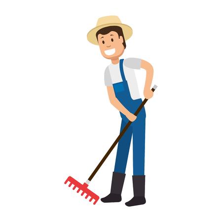 Male gardener with rake avatar character vector illustration design