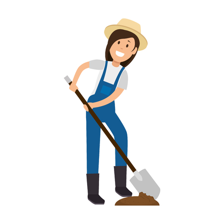 Female gardener with shovel avatar character vector illustration design Ilustração