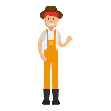 Male gardener with overalls and hat avatar character vector illustration design Vettoriali