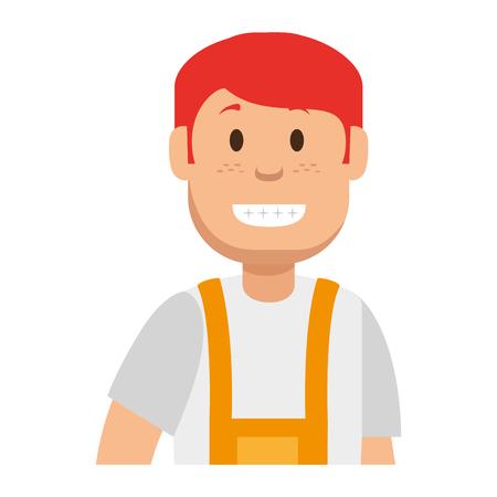 Male gardener with overalls avatar character vector illustration design Illustration