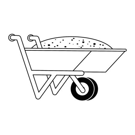 Wheelbarrow with ground icon vector illustration design