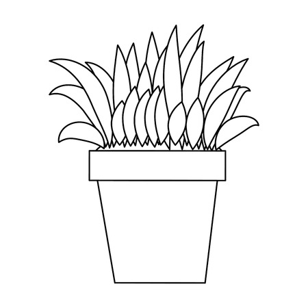 Bush cultivated in pot vector illustration design