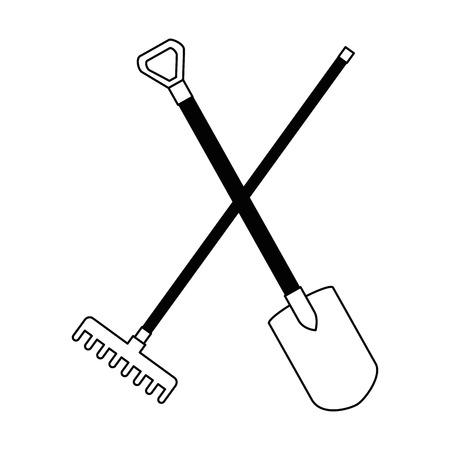 gardening shovel and rake isolated icon vector illustration design Stockfoto - 95560302