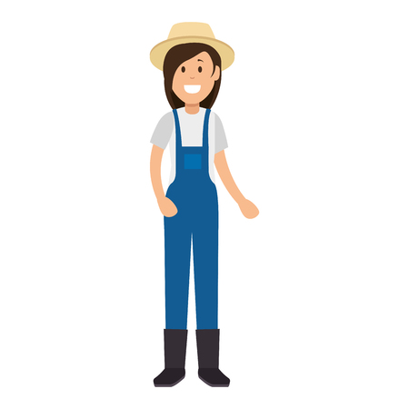 woman gardener with overalls and hat avatar character vector illustration design Standard-Bild - 95687946