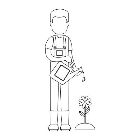 Male gardener with sprinkler avatar character vector illustration design