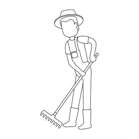 man gardener with rake avatar character vector illustration design