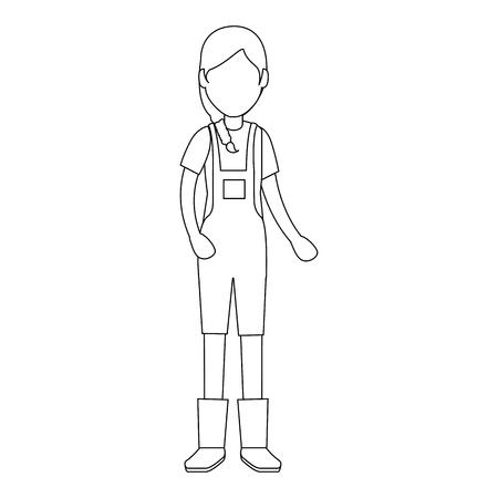 woman gardener with overalls avatar character vector illustration design