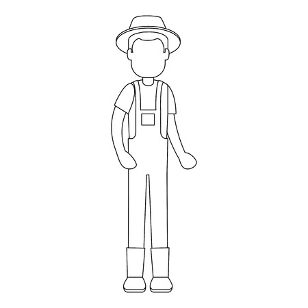 man gardener with overalls and hat avatar character vector illustration design 向量圖像