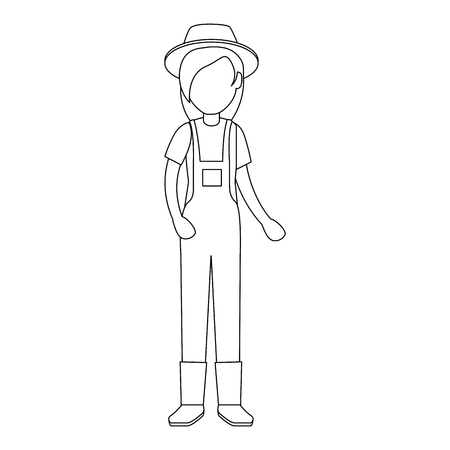 woman gardener with overalls and hat avatar character vector illustration design 版權商用圖片 - 95688120
