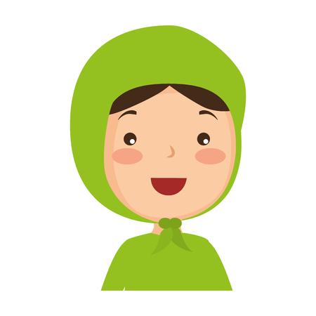 イスラム教徒の女の子アバターキャラクターベクトルイラストデザイン