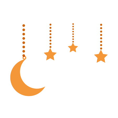 moon and stars hanging decoration vector illustration design Archivio Fotografico - 95585747