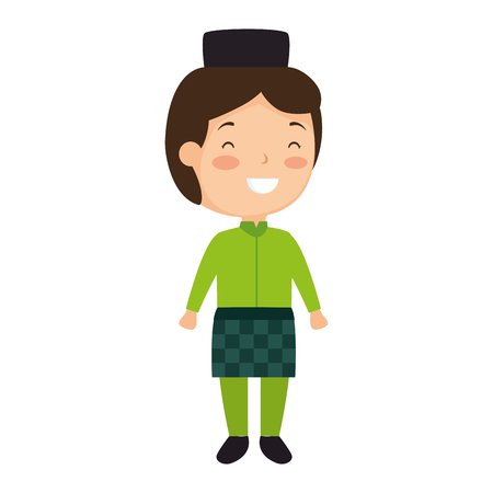 muslim boy with hat avatar character vector illustration design Stock Illustratie