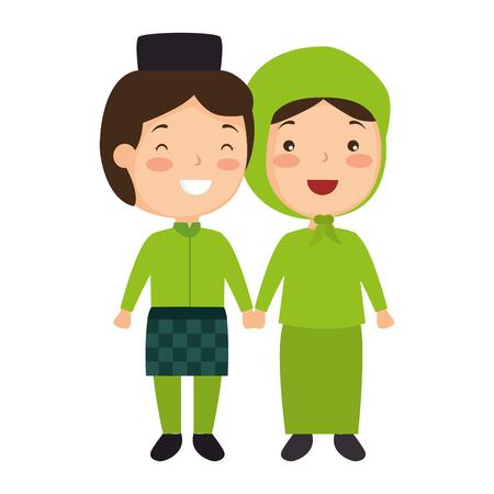 イスラム教徒のカップルのアバターキャラクターベクトルイラストデザイン