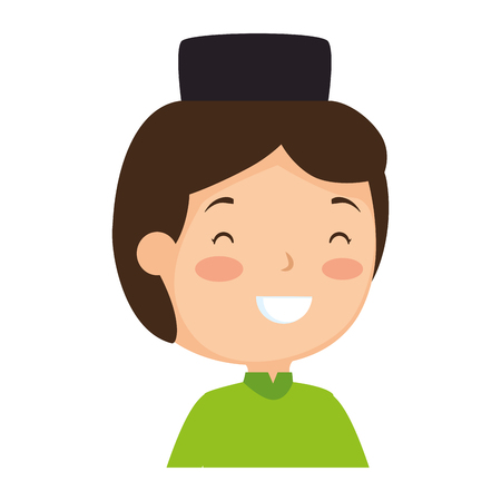 muslim boy with hat avatar character vector illustration design Çizim
