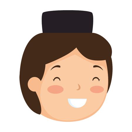 muslim boy with hat head avatar character vector illustration design