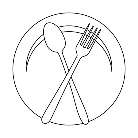 dish with fork and spoon cutlery isolated icon vector illustration design Stock Illustratie