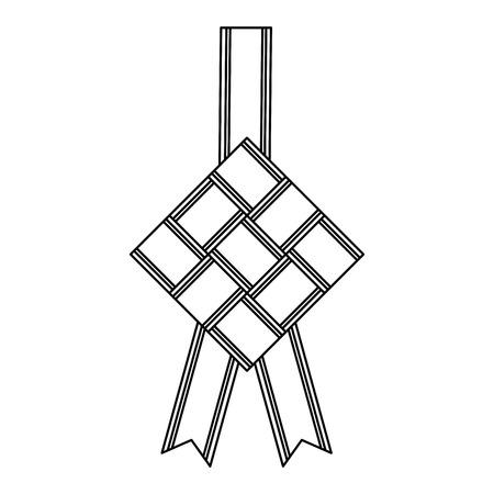 hanging rhombus frame with ribbon vector illustration design Illustration