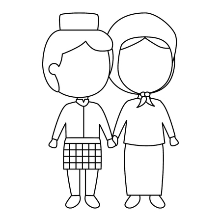 Muslim couple avatars characters vector illustration design Çizim