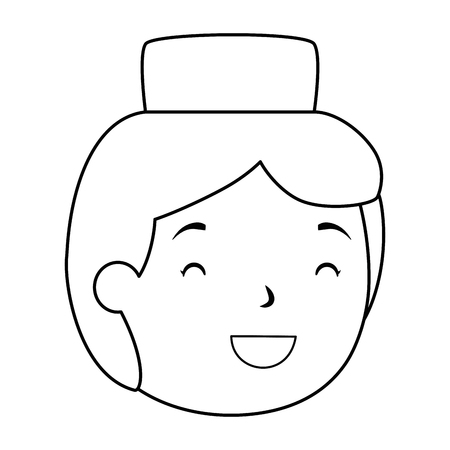 muslim boy with hat head avatar character vector illustration design