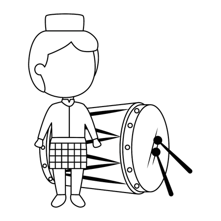 muslim boy with hat and drum vector illustration design