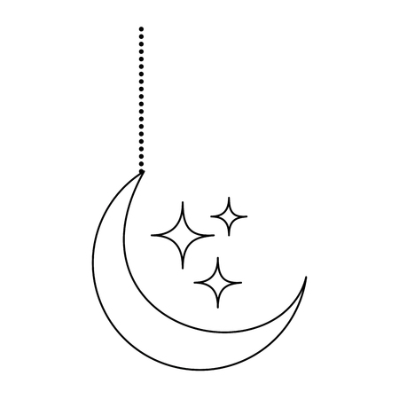 moon and stars hanging decoration vector illustration design Иллюстрация