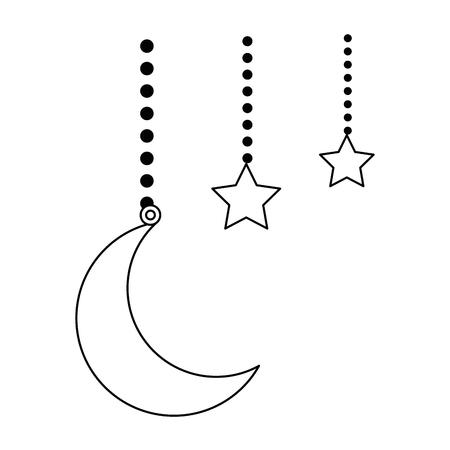 moon and stars hanging decoration vector illustration design Illustration