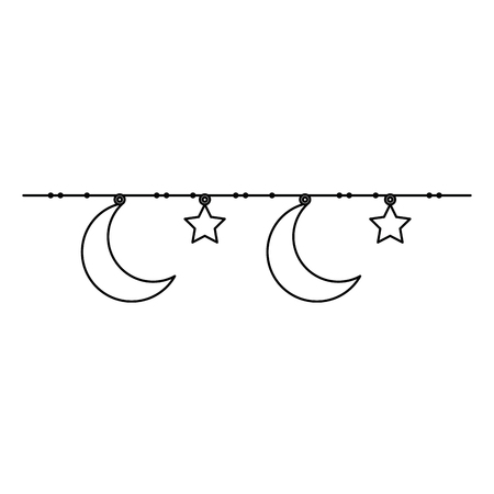 moon and stars hanging decoration vector illustration design Banque d'images - 95586242
