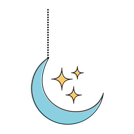 Moon and stars hanging decoration vector illustration design Archivio Fotografico - 95616982