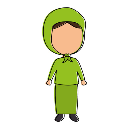 Muslim girl avatar character vector illustration design Çizim