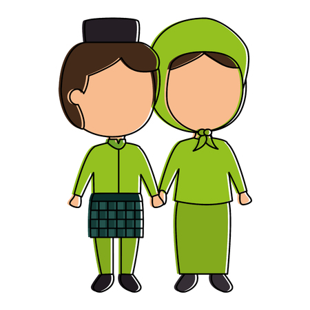 Muslim couple avatars characters vector illustration design Illustration