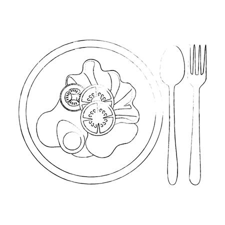 Leckeres Salat gesundes Essen mit Besteck Vektor-Illustration Design Standard-Bild - 95617156