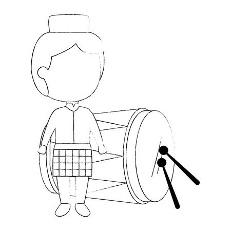 모자와 드럼 벡터 일러스트 레이 션 디자인 이슬람 소년 스톡 콘텐츠 - 95615980